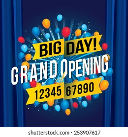 Grand opening with blue curtain background. Vector illustration