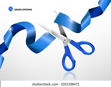 Grand opening with blue ribbon and scissors