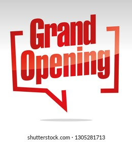 Grand Opening in brackets speech red white isolated sticker icon banner