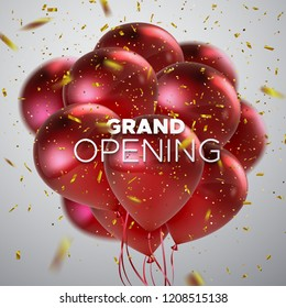Grand Opening. Business startup open ceremony. Vector illustration. Marketing event label. Abstract background with flying red balloons and golden sparkling confetti. Announcement banner template.