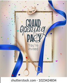Grand opening card with blue  ribbons, golden frame and colorful confetti. Vector illustration