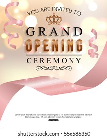 Grand opening card design with pale pink ribbon. Vector illustration