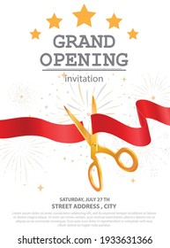 Grand opening card design with red ribbon and colorful confetti
