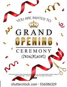 Grand opening card design with red ribbon and gold scissors. Vector illustration