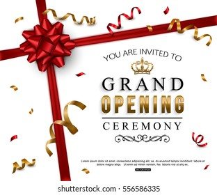 Grand opening card design with red ribbon and bow. Vector illustration