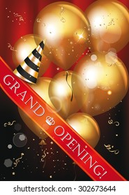 Grand opening card with gold air balloons, red ribbon and party hat