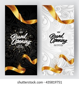 Grand Opening card with gold sparkling ribbon and floral background