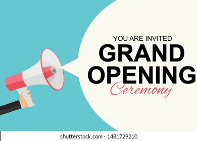 Grand Opening Card with Megaphone and Speech Bubble. Vector Illustration EPS10