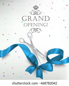Grand opening card with realistic blue silk ribbon, scissors and colorful confetti. Vector illustration
