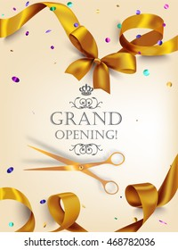 Grand opening card with realistic gold silk ribbon, scissors and colorful confetti. Vector illustration