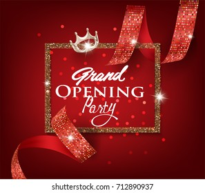Grand opening card with red cut ribbon with pattern. Vector illustration