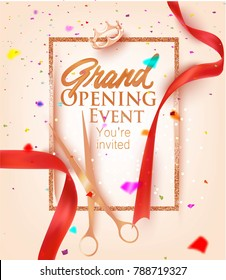 Grand opening card with red sparkling ribbons and colorful confetti. Vector illustration