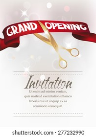Grand opening card with scissors and red  ribbon