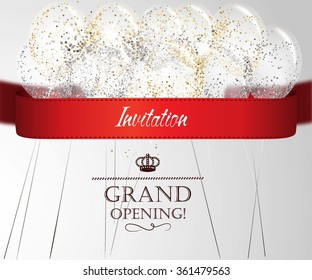 Grand opening card with shiny confetti, red ribbon and air balloons