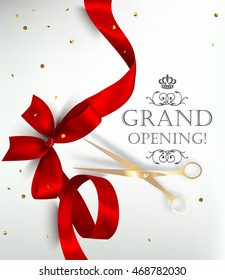 Grand opening card with silk ribbon, scissors and confetti. Vector illustration