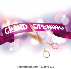 Grand opening cards with scissors,red ribbon and bokeh background