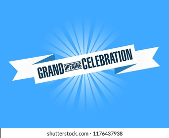 Grand opening celebration bright ribbon message  isolated over a blue background