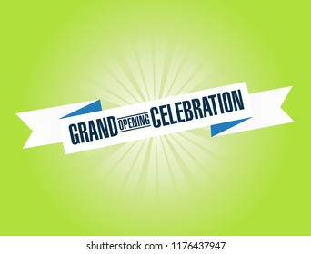 Grand opening celebration bright ribbon message  isolated over a green background