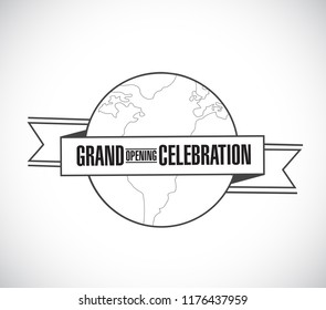 Grand opening celebration line globe ribbon message concept isolated over a white background