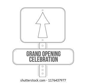 Grand opening celebration line street sign isolated over a white background