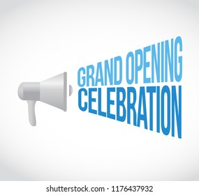 Grand opening celebration loudspeaker message concept isolated over a white background