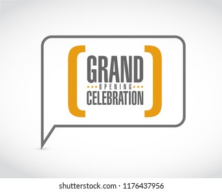 Grand opening celebration message bubble isolated over a white background