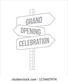 Grand opening celebration multiple destination line street sign isolated over a white background
