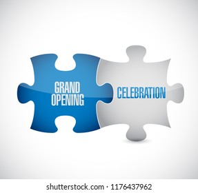 Grand opening celebration puzzle pieces message concept, isolated over a white background