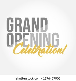 Grand opening celebration stylish typography copy message isolated over a white background