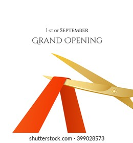 Grand Opening celebrities illustration with gold scissors and red ribbon on white background.