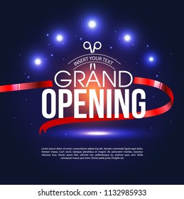 Grand opening ceremonial vector background with gold lettering. Ceremony open with red ribbon illustration