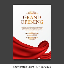 Grand Opening ceremony elegant luxury red silk ribbon poster banner