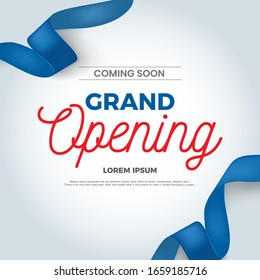 Grand Opening ceremony poster design with blue ribbon. Eps10 vector illustration. - Shutterstock ID 1659185716