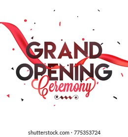 Grand Opening Ceremony Poster Design with Red Ribbon.