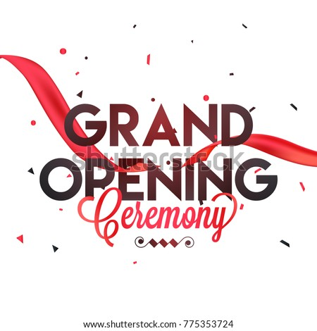 grand opening ceremony poster design red stock vector royalty free