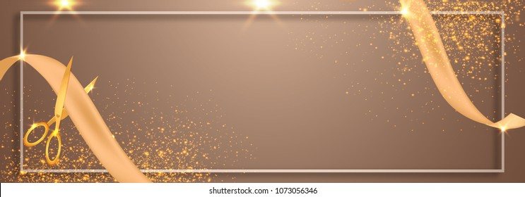 Grand Opening Ceremony, Web Banner Design with Golden Ribbon.