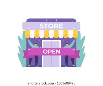 a grand opening concept, customer reception, welcome. illustration of a shop clerk or worker holding a ribbon to encourage the opening of a new store branch. flat style. vector design elements
