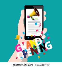 Grand Opening Concept with Phone in Hand