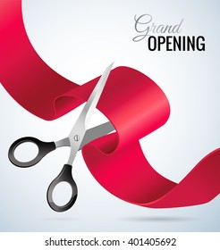 Grand opening concept. Scissors cut the ribbon. Grand opening card with red ribbon and silver scissors. Vector illustration