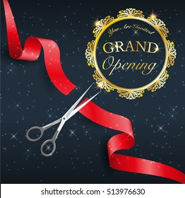 grand opening, cutting red tape, the start day of activity