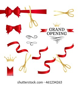 Grand opening decoration elements. Cut red ribbons, bows and gold scissors
