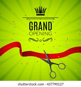 Grand Opening design template with ribbon and scissors. Grand open ribbon cut concept