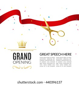 Grand Opening design template with ribbon and scissors. Grand open ribbon cut business start-up banner concept