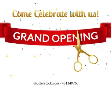 Grand Opening design template with ribbon and scissors. Grand open ribbon cut invitation