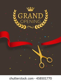 Grand Opening design template with ribbon and scissors.