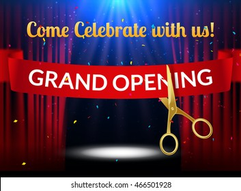 Grand Opening design template with ribbon and scissors. Grand open ribbon cut invitation with red curtains and stage lights.
