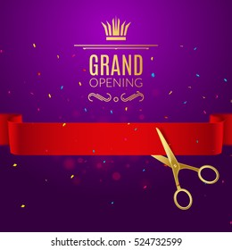 Grand Opening design template with ribbon and scissors. Grand open ribbon cut concept.