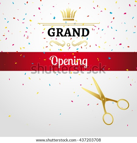 grand opening design template with ribbon and scissors grand open ribbon cut concept