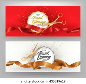 Grand opening elegant banners with gold and red curled ribbons. Vector illustration