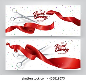 Grand opening elegant banners with red curled ribbons, scissors and colorful confetti. Vector illustration